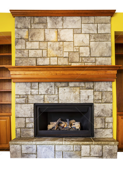 Gas Insert Fireplace with accent walls and shelves  Stock photo © tab62
