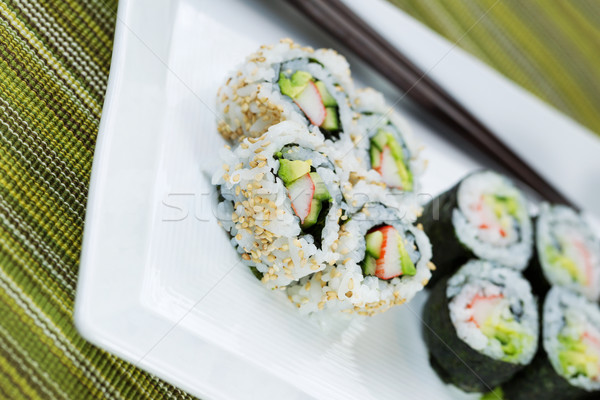 Angled shot of Handmade Sushi on serving plate  Stock photo © tab62