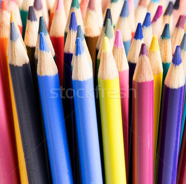 Farbenreich Bleistift Tipps Ansicht Zurück in die Schule Stock foto © tab62