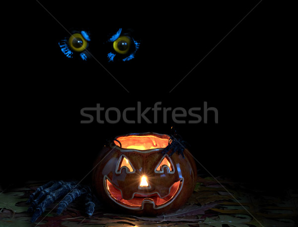 Glowing scary pumpkin decoration in darkness with owl eyes in ba Stock photo © tab62