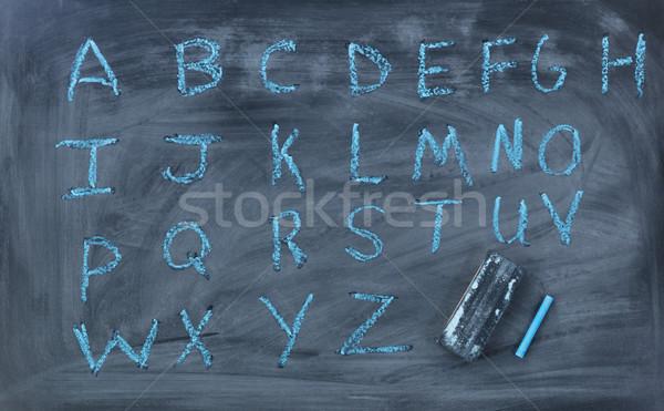 английский алфавит письма написанный мелом совета Сток-фото © tab62
