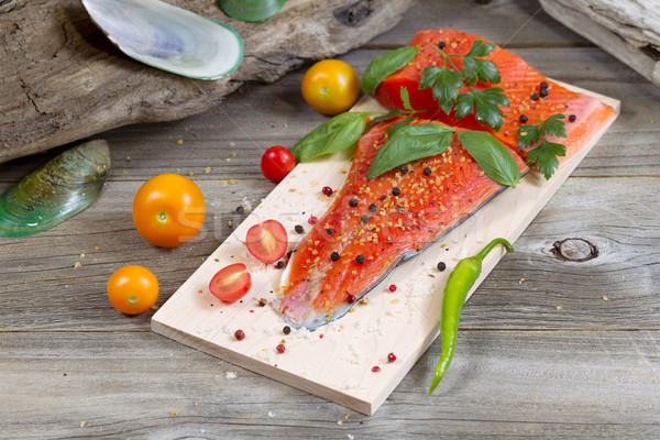 季節の 鮭 準備 料理 水平な 表示 ストックフォト © tab62