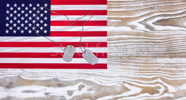 USA zászló katonaság személyi igazolvány címkék fehér Stock fotó © tab62