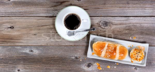 Reggel sütemény étel sötét kávé rusztikus Stock fotó © tab62