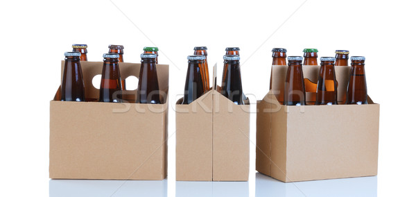 Six packs of glass bottled beer in generic brown cardboard carri Stock photo © tab62
