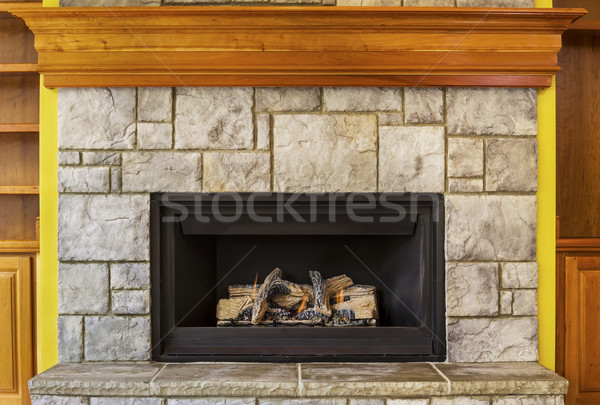 Natural Gas Insert Fireplace with Stone and Wood  Stock photo © tab62