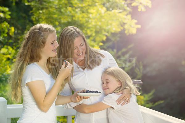 Familie genießen Moment Freien Deck Sommer Stock foto © tab62