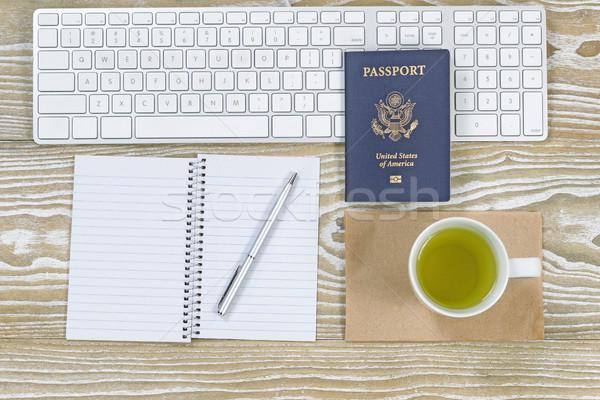 Office Desktop with USA Passport and green tea  Stock photo © tab62