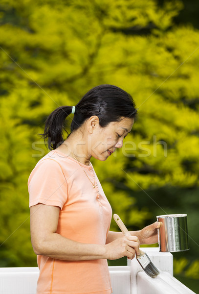 Mature woman ready to apply paint on outdoor deck railings  Stock photo © tab62