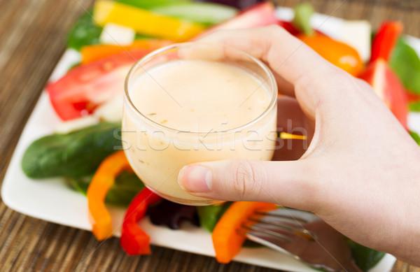 サラダドレッシング 水平な 写真 女性 手 ストックフォト © tab62