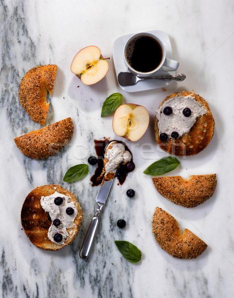 Pirított krém sajt meg kávé reggel Stock fotó © tab62