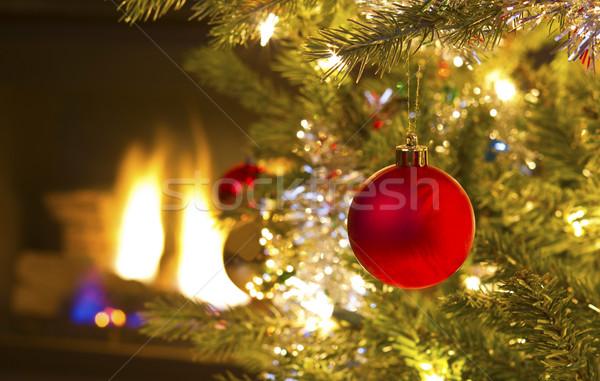Stok fotoğraf: Büyüyen · kırmızı · Noel · süs · parlak · asılı