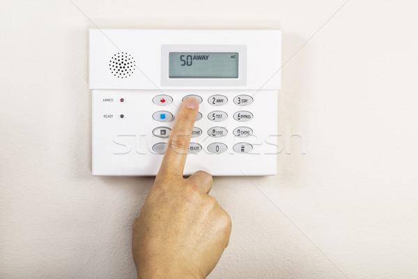 Casa alarma mano lejos código seguridad Foto stock © tab62