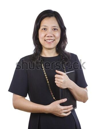 Maduro asiático mulher traje de negócios branco retrato Foto stock © tab62