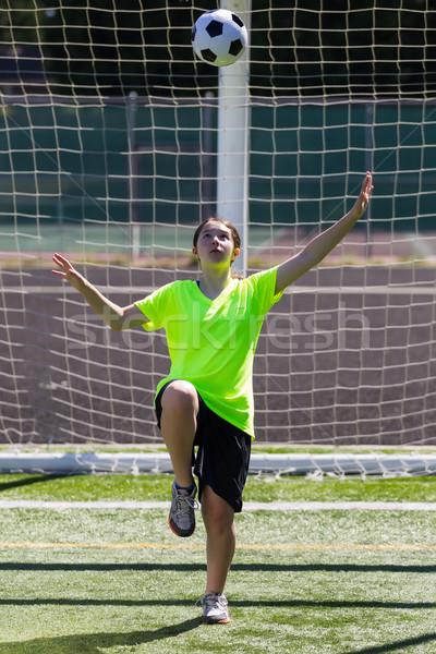 Młoda dziewczyna piłka pionowy Fotografia dziewczyna Zdjęcia stock © tab62