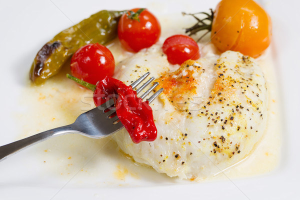 Baked Sole Fish with Vegetables in sauce  Stock photo © tab62