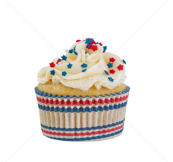 Decorative cupcake and wrapper for the Fourth of July on white b Stock photo © tab62