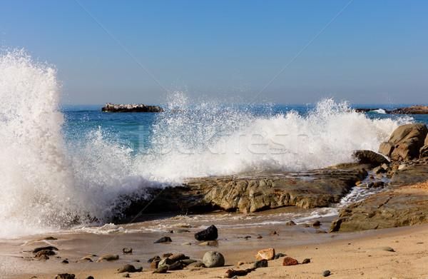 Ocean waves hitting rocks on Laguna Beach in California Stock photo © tab62