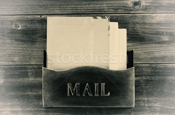 Vintage style Old Metal Mailbox on Weathered Wood  Stock photo © tab62