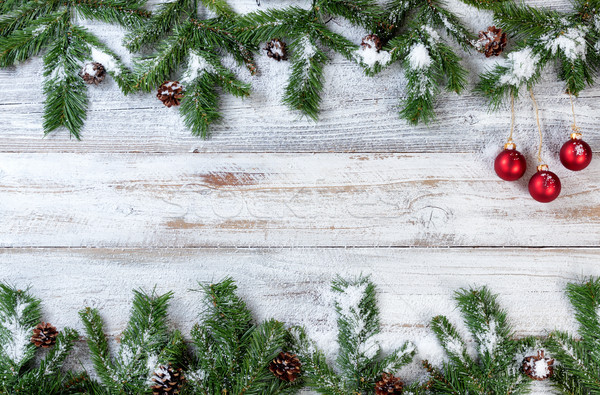 Navidad rojo adornos rústico blanco Foto stock © tab62