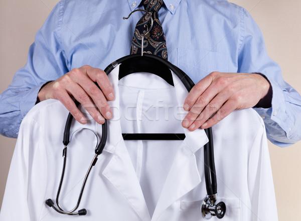 Médico branco consulta casaco estetoscópio Foto stock © tab62