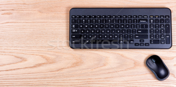 Clean and organized red oak desktop with keyboard and mouse Stock photo © tab62