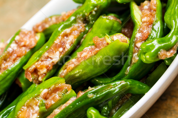 Bowl of Uncooked Fresh Stuffed Green Peppers Ready for Cooking  Stock photo © tab62