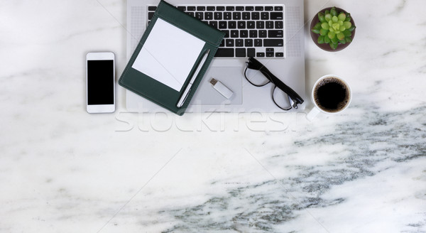 Working marble desktop setting with modern mobile technology dev Stock photo © tab62