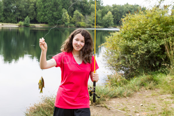 Young Girl Happy with her Catch at the Lake  Stock photo © tab62