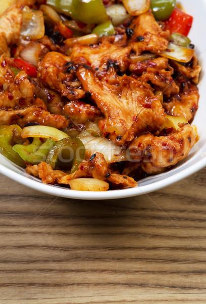 Chino picante pollo plato blanco tazón Foto stock © tab62