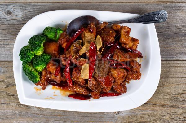 Kínai sült lédús tofu brokkoli edény Stock fotó © tab62