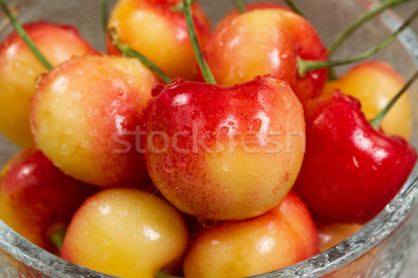 Ripe Washington State Rainier cherries in glass bowl Stock photo © tab62