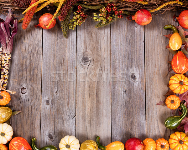 Complete border of autumn gourd decorations on rustic wooden boa Stock photo © tab62