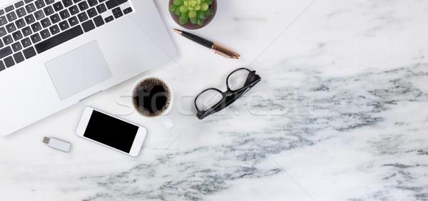 Márvány asztali modern mobil eszközök friss Stock fotó © tab62