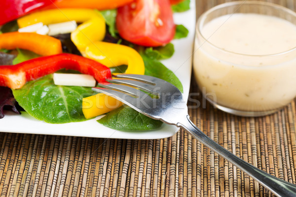 Photo stock: Fraîches · vinaigrette · fourche · horizontal · photo · acier · inoxydable