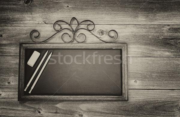 доске карандашей Eraser древесины Vintage старые Сток-фото © tab62
