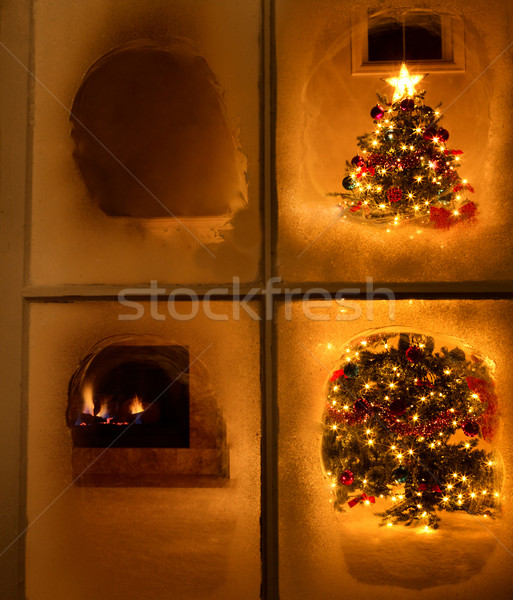 Christmas night time view of tree through frosted window still  Stock photo © tab62