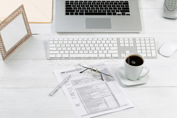 Complete working desktop with tax forms  Stock photo © tab62