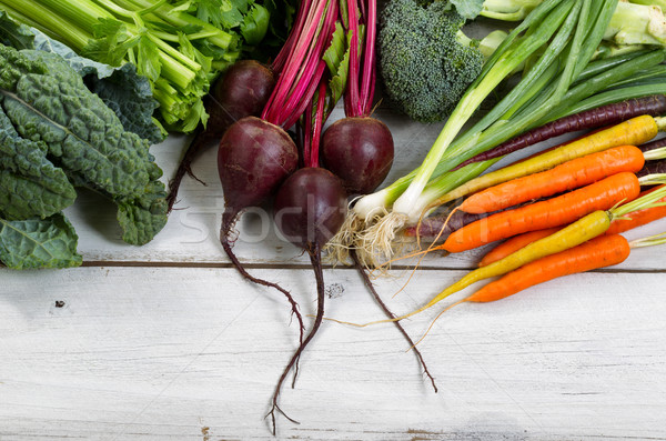 Freshly picked vegetables on rustic wooden boards Stock photo © tab62