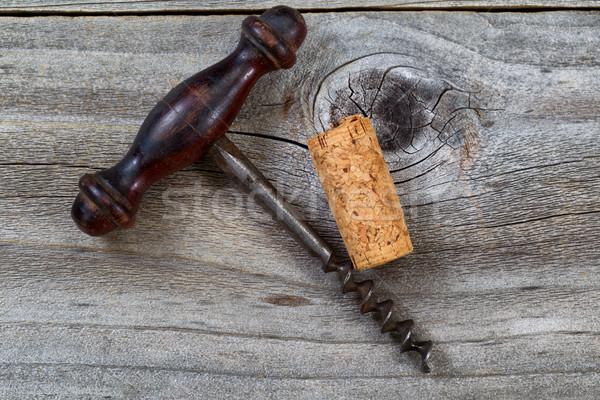ヴィンテージ コークスクリュー 中古 コルク 素朴な 木材 ストックフォト © tab62