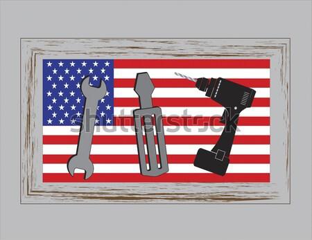 Közelkép katonaság felszerlés USA zászló Egyesült Államok Stock fotó © tab62