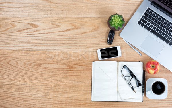 Top view of red oak desktop with copy space Stock photo © tab62