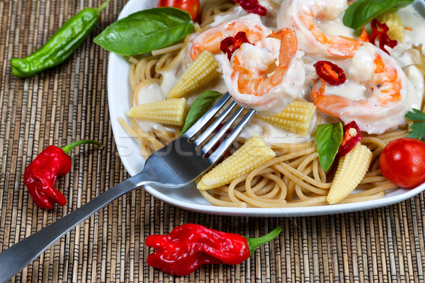 Gourmet creamy Shrimp Pasta  Stock photo © tab62