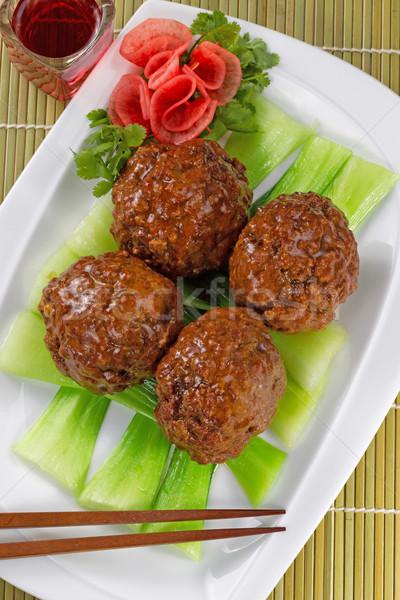 ázsiai húsgombócok zöldségek vörösbor felső kilátás Stock fotó © tab62