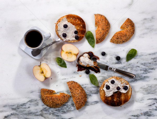 Toasted bagels with cream cheese and dark coffee for morning mea Stock photo © tab62
