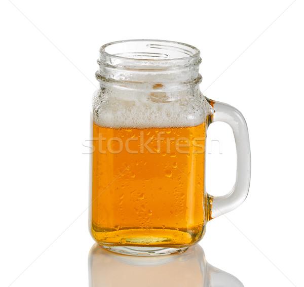 Jarra vidro frio âmbar cerveja branco Foto stock © tab62
