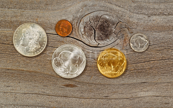 Vintage USA Coins on weathered wood  Stock photo © tab62