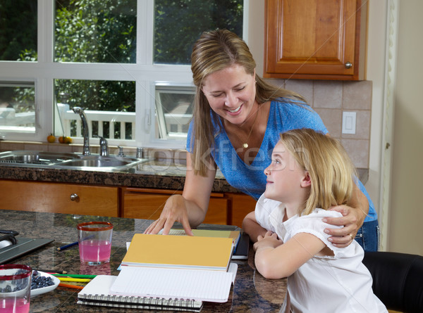 Mother and daughter working on homework Stock photo © tab62