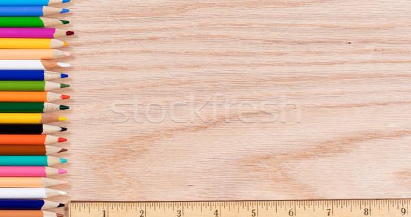 Színes ceruzák felfelé vonalzó tölgy fából készült Stock fotó © tab62