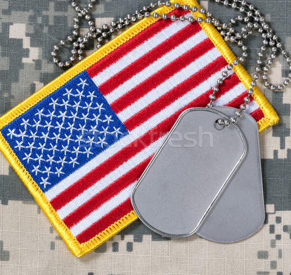 Amerykańską flagę psa kamuflaż banderą kraju Zdjęcia stock © tab62